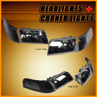 98 10 Ford Crown Victoria Black Headlights Head Lights Signal Corner