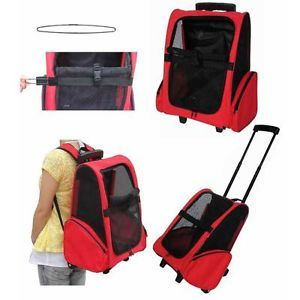 Red Travel Pet Dog Cat Stroller Carrier Lightweight Airline Car Seat Backpack