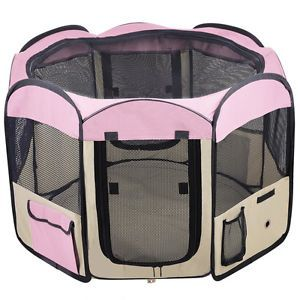 "New 57"" Pet Puppy Dog Playpen Exercise Pen Kennel Pink"
