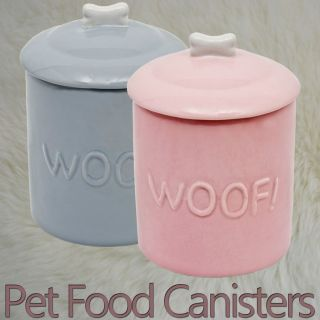 Cute Ceramic Biscuit Tin Shape Dog Puppy Food Bowl Feeder Lid Storage Canister