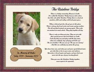 Personalized Pet Memorial Poem for Loss of Dog The Rainbow Bridge