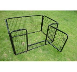 Portable Exercise Pet Dog Playpen Fence Yard Pen 4 Panel Little Animal Black