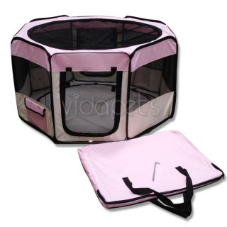 "45"" Wide Pink 2 Door Soft Pet Playpen Dog Guinea Pig Puppy Exercise Pen Kennel"