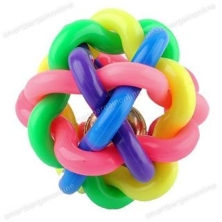 Pet Dog Puppy Cat Rainbow Colorful Rubber Exercise Chew Ball Bell Sound Play Toy