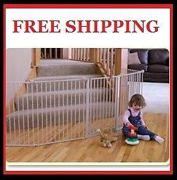 Walk Through 4in1 Extra Large Metal Play Yard Pen Gate Fence Kids Pet Dog Child