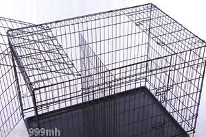 "42"" Large 3 Doors Folding Wire Pet Cat Dog Crate Cage Kennel Free Divider"
