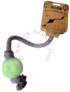 Beco Ball with Rope Natural Eco Friendly Dog Toy