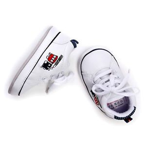 Baby Boy Girl White Soft Sole Shoes Toddler Sneaker Size Newborn to 18 Months