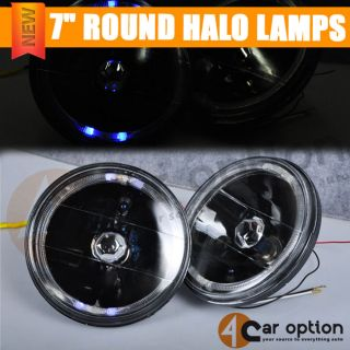 "7"" Round SEALED Beam Black with Halo Replacement Head Lamps Mazda"