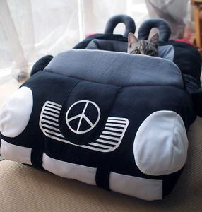 Cute Fashion Pet Dog Cat Pet Car Bed House Kennel Sofa Cushion Detachable Black