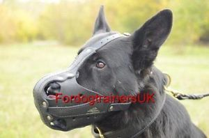 Police Dog Muzzle for K9 Dogs Service German Shepherd Leather Dog Muzzle