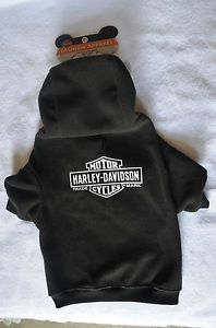 Harley Davidson Black Hoody Dog Clothing Fleece Sweater Winter Coat Size L