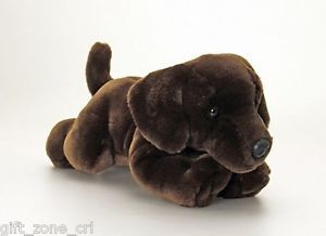 New Dog Harley Lying Chocolate Labrador Soft Toy from Keel Toys 30cm