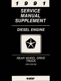1991 Dodge RAM Truck Diesel Engine Service Shop Repair Manual Mechanic Book