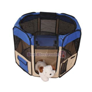 "Blue 35"" Pet Puppy Dog Playpen Exercise Pen Kennel"