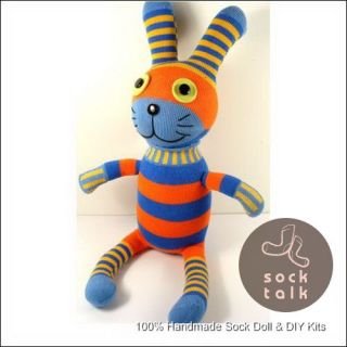 Handmade Orange Blue Striped Sock Monkey Rabbit Stuffed Animals Baby Toy