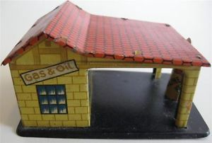 Original 1920's Pre War German Distler Tin Litho Gas Station Penny Toy