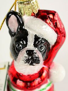Pet Parade Kurt Adler Boston Terrier with Sweater Dog Glass Christmas Ornament