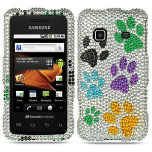 Colorful Dog Paws Bling Hard Case Cover Samsung Galaxy Prevail Precedent Phone
