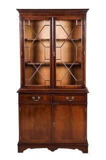 English Antique Style Mahogany Bookcase with Doors