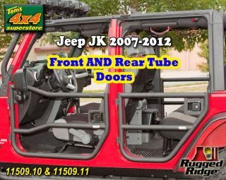 Front Rear Tube Doors Black Textured Pair Jeep JK Wrangler 4 Door 2007 2012