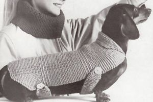 Knitting Pattern Dog Coat Blanket Sweater Dachshund EZ
