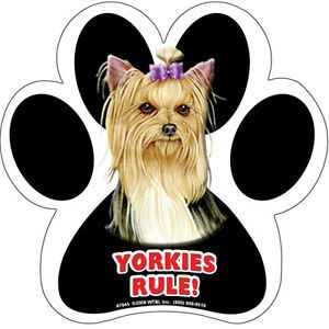 Yorkies Rule Dog Paw Print Rubber Car Fridge Locker Magnet Made in The USA