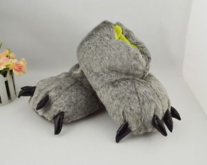 Adult Monster Big Foot Grey Bear Wolf Feet Dog Claw Paw Party Animal Slippers