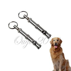 2pcs Silver Metal Pet Dog Training Adjustable Ultrasonic Sound Dog Whistle Pitch