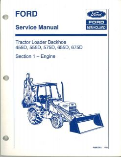 Ford 575D Tractor Loader Backhoe Service Manual 3 4 Cyl Diesel Engine