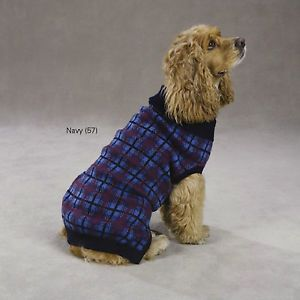 Small Boston Terrier Yorkie Navy Plaid Dog Sweater Coat Apparel s Clothes