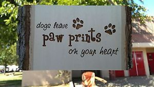 Dogs Leave Paw Prints on Your Heart Wood Gift Plaque for The Puppy Lover