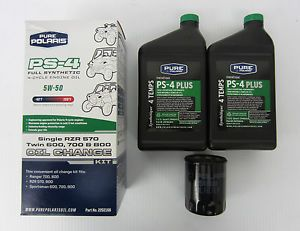 Pure Polaris PS 4 Full Synthetic 4 Cycle Engine Oil Change Kit RZR 570 600 700