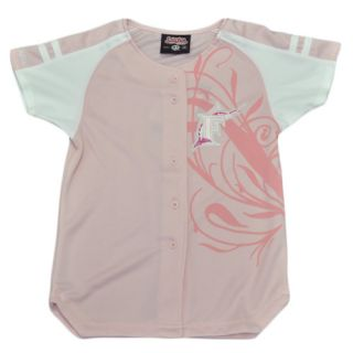 MLB Florida Miami Marlins Youth Kids Girls Baseball Jersey Pink White Polyester