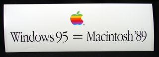 Apple Computer Windows 95 Macintosh 89 Bumper Sticker