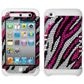 Pink Zebra Diamond w Glow in Dark Case Cover for Apple iPod Touch 4 4th Gen