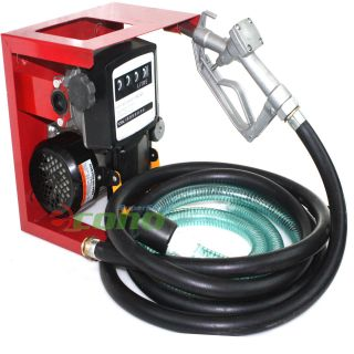 110V Electric Oil Fuel Diesel Gas Transfer Pump w Meter 12' Hose Manual Nozzle