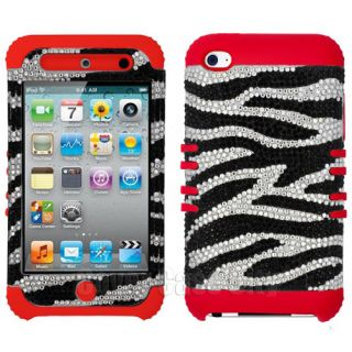Hybrid Hard Case for Apple iPod Touch 4 Gen Zebra Diamond w Red Impact Cover
