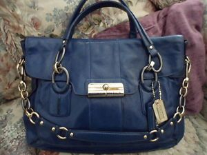 Coach Kristin Navy Elevated Leather Flap Satchel Shoulder Bag 16819