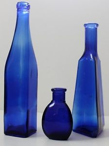 Lot 3 Cobalt Blue Glass Bottles Vase Vintage Art Deco Medicine Collection Ink