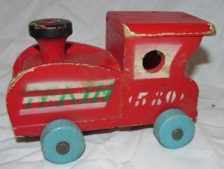 Vtg 1940s Train Locomotive Engine Red Wood Wooden 580 Toy 5 5""