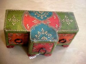 Painted Wooden Jewelry Box 3 Drawers RARE Unique Shape Wood Art India Decor