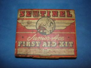 Vintage Sentinel Junior Ace Airplane First Aid Kit Advertising Tin Case