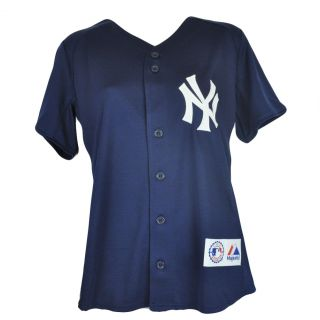 MLB Majestic New York Yankees Button Up Authentic Baseball Womens Jersey