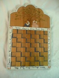 American Painted Wood Folk Art Chess Board Don'T Sit Under The Apple Tree Signed