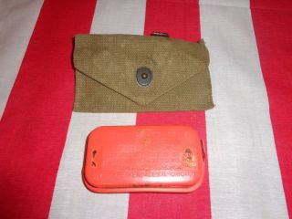 WWII USMC US Army Field Gear First Aid Kit Orange Can WWII First Aid Pouch