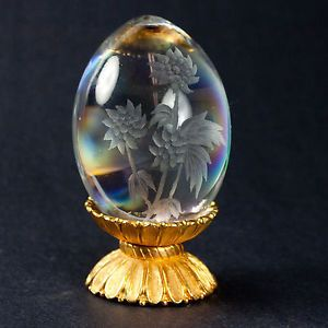 Egg Shape Art Glass Paperweight with Etched Flowers and Gold Color Stand