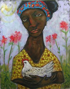 Folk Art Painting Portrait Woman and Chicken Acrylic on Board Original