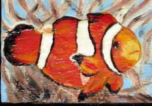 OOAK ACEO Fridge Magnet Clown Fish Painting Art Signed Gessoed Masonite Board