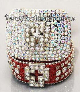 Christian Western Bling Red Bling Cross Belt Buckle Aurora Borealis Crystals Ml